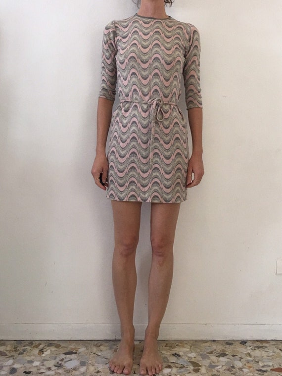 60's Mod Knit Pastel Pink Mini Dress With Belt