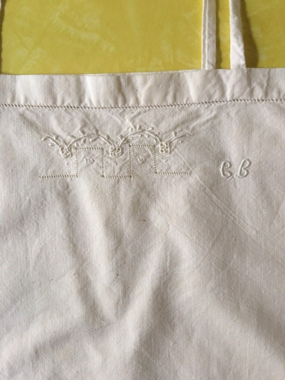 30s White Cotton Boho Slip With Hand Embroidered … - image 5