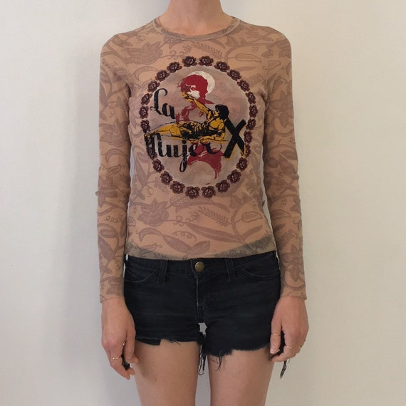90's Jean Paul Gaultier Mesh Club Kid Tattoo Top L