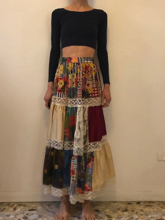 80's Kenzo Peasant Skirt Patchwork Quilt Summer Fu