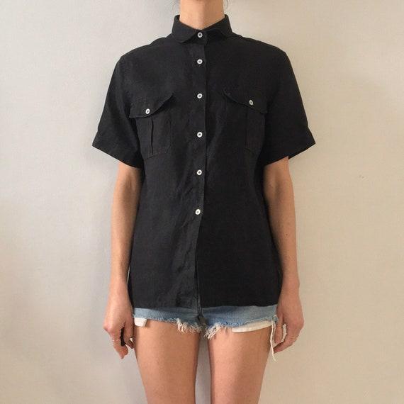 80's Burberry Black Linen Minimalist Button Up Saf