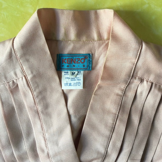 70s Kenzo Pink Silk Pleated Cross Over Japanese M… - image 6