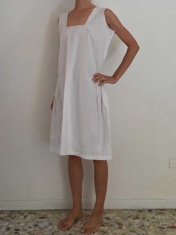 30's White Cotton Boho Slip Dress With Delicate H… - image 3