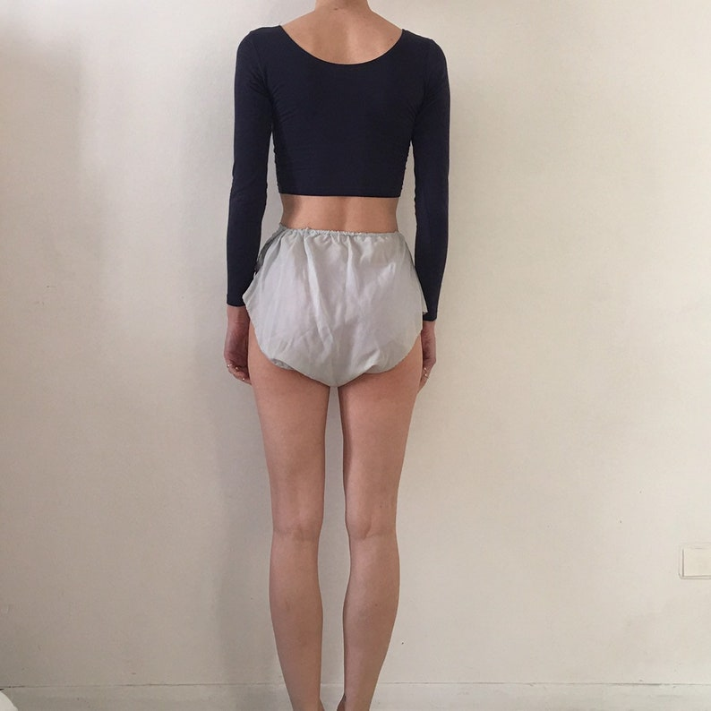 20s bias cut silk tap panties with white cotton lace and hand embroidery
