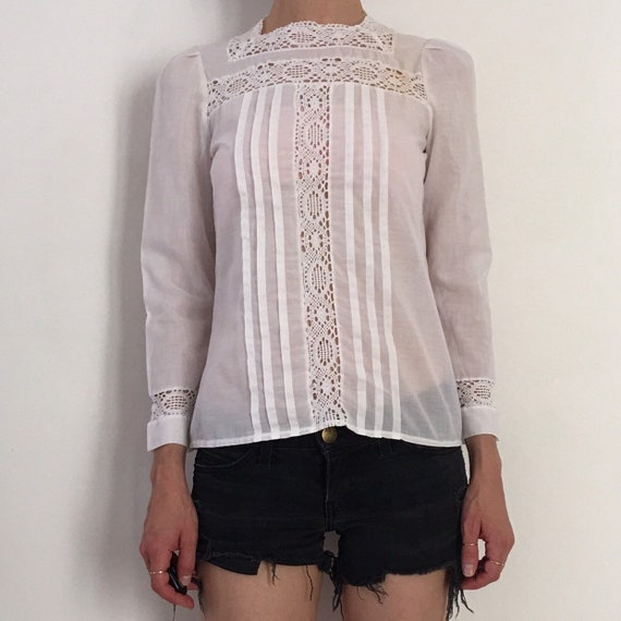 70s Lace Prairie Blouse Boho Romantic Sheer Cotto… - image 5