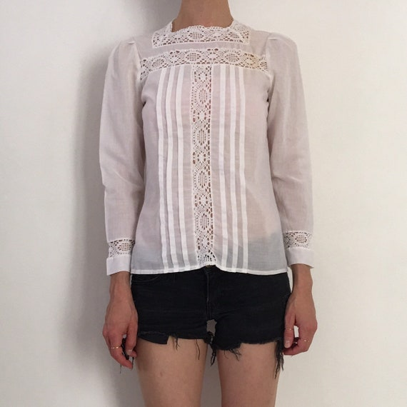 70s Lace Prairie Blouse Boho Romantic Sheer Cotto… - image 1