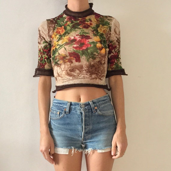 90s Jean Paul Gaultier Floral Fruit Sheer Stretch