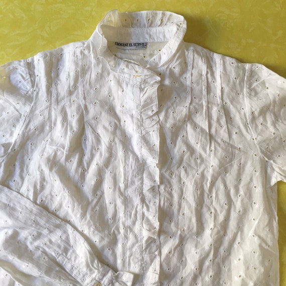 80s White Cotton Lace Eyelet Button Up Blouse Wit… - image 5