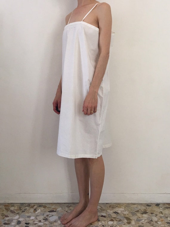 30s White Cotton Boho Slip With Hand Embroidered … - image 2