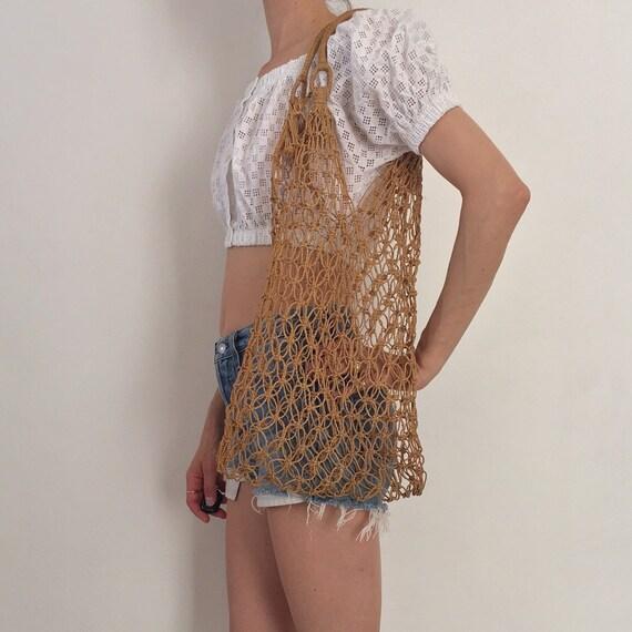 70's Macrame Hand Crochet Summer Market Beach Bag