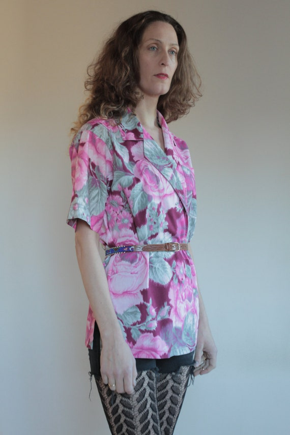 70's Kenzo cotton ikat wrap around floral blouse … - image 3