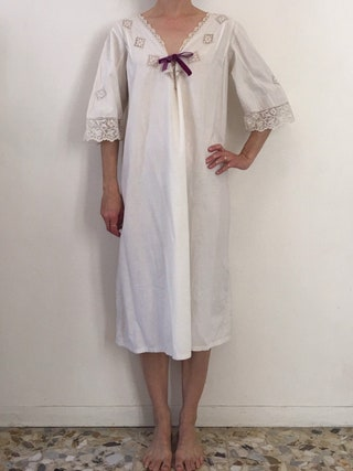 Edwardian White Cotton Nightgown With Hand Woven Crochet Lace And Velvet Lace Ribbon