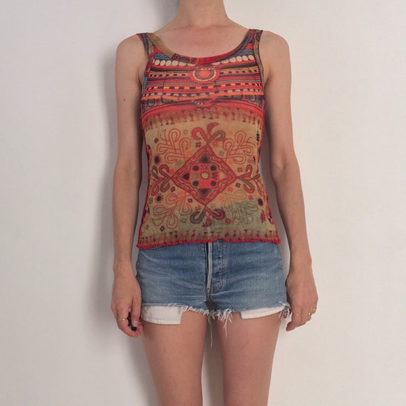90s Jean Paul Gaultier Indian Hippy Beaded Sheer M
