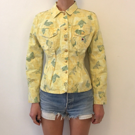 characters and trees print  small 1980s Kenzo high waisted cream jeans