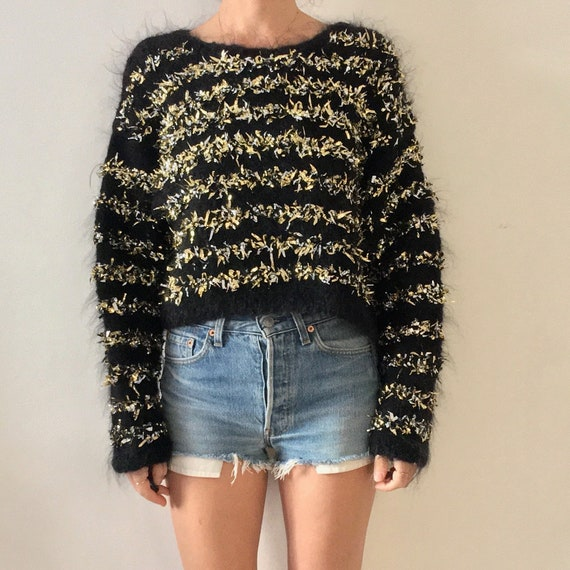 90's Hand Knit Gold Silver Foil Black Chunky Cropp