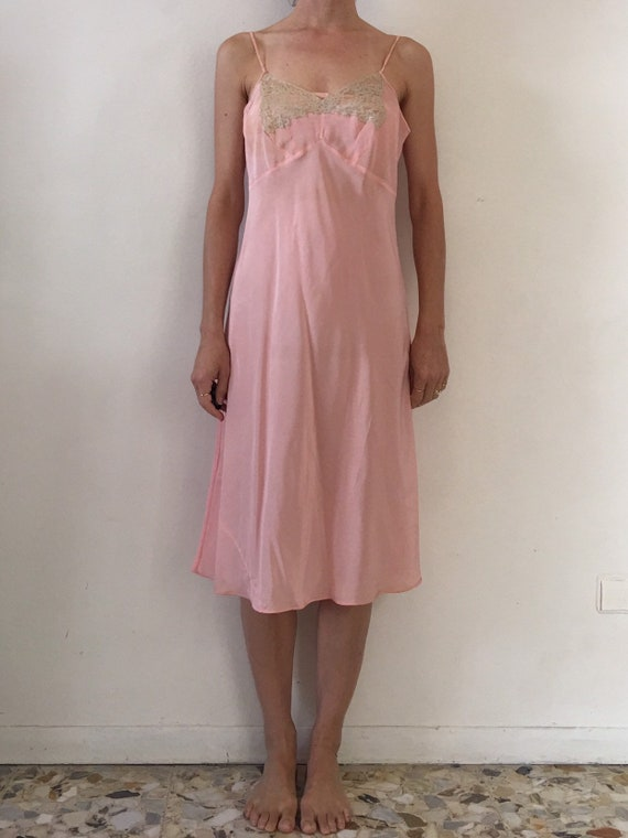 30s Bias Cut Pink Silk Lace Bodice Slip Nightgown