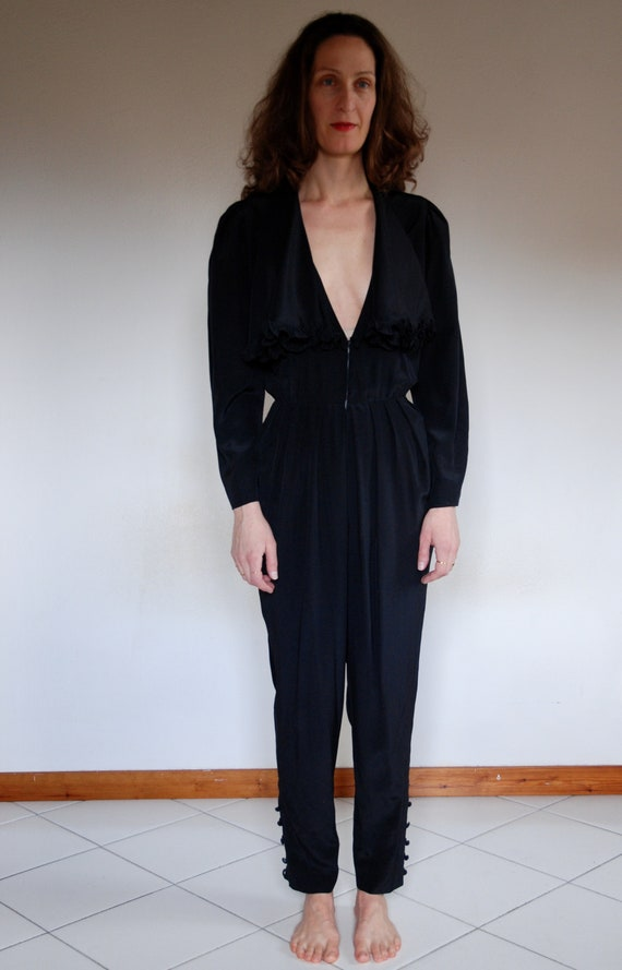 80's jumpsuit black silk tailor made plunging neck