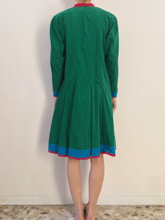 70's Kenzo Paris Velvet Corduroy Green Blue Pink … - image 3