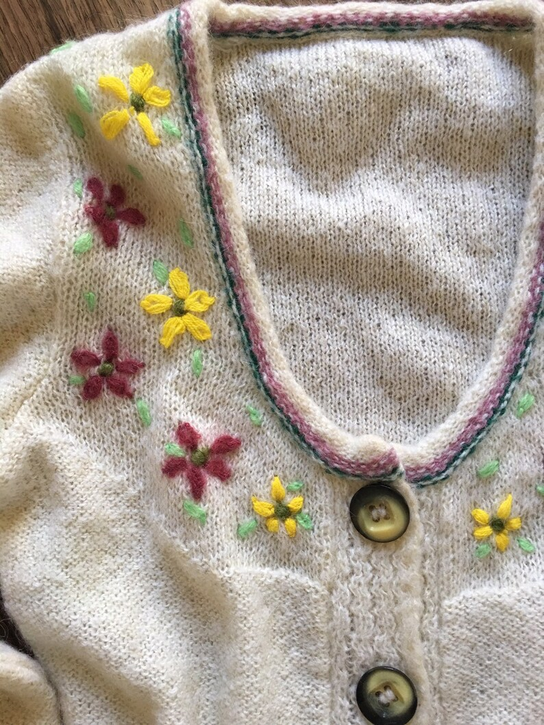 80s embroidered Tyrol wool sweet button up cardigan