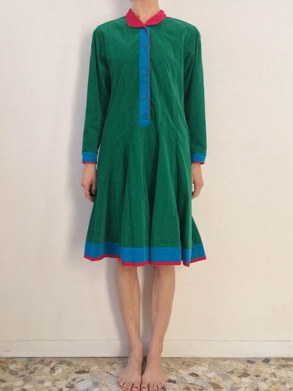 70's Kenzo Paris Velvet Corduroy Green Blue Pink … - image 1