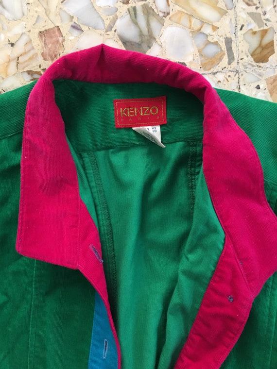 70's Kenzo Paris Velvet Corduroy Green Blue Pink … - image 5
