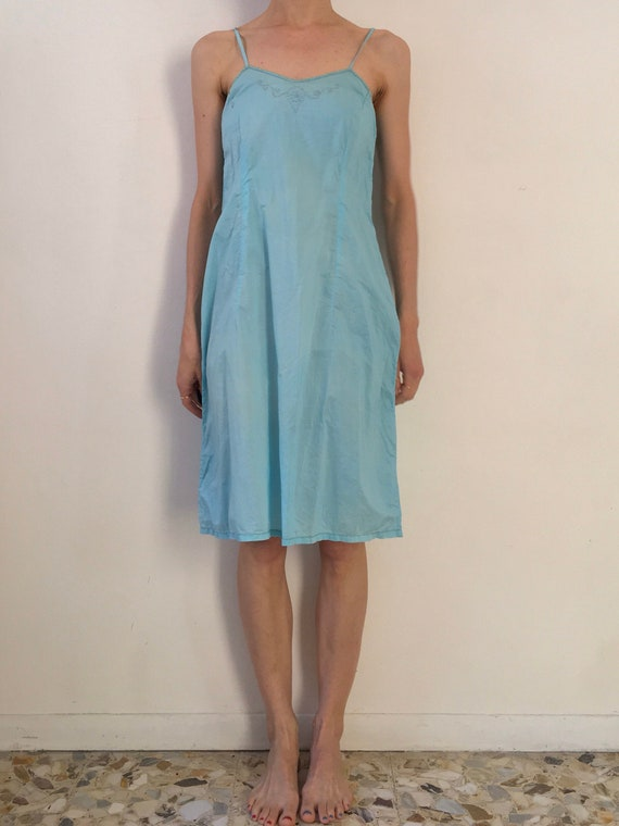30's Hand Embroidered Turquoise Cotton Slip Dress