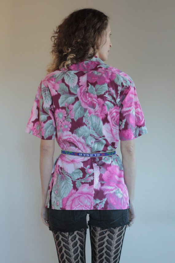 70's Kenzo cotton ikat wrap around floral blouse … - image 4
