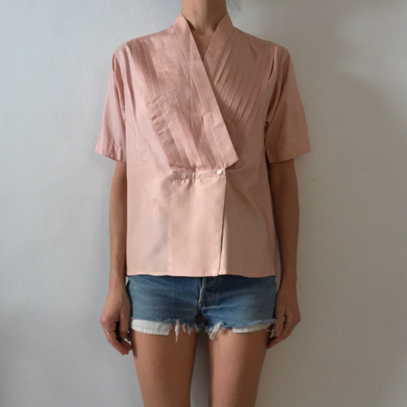 70s Kenzo Pink Silk Pleated Cross Over Japanese Mi