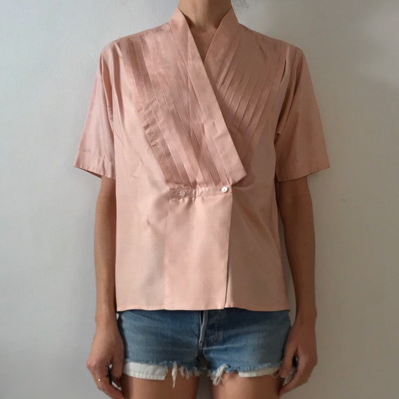 70s Kenzo Pink Silk Pleated Cross Over Japanese M… - image 4