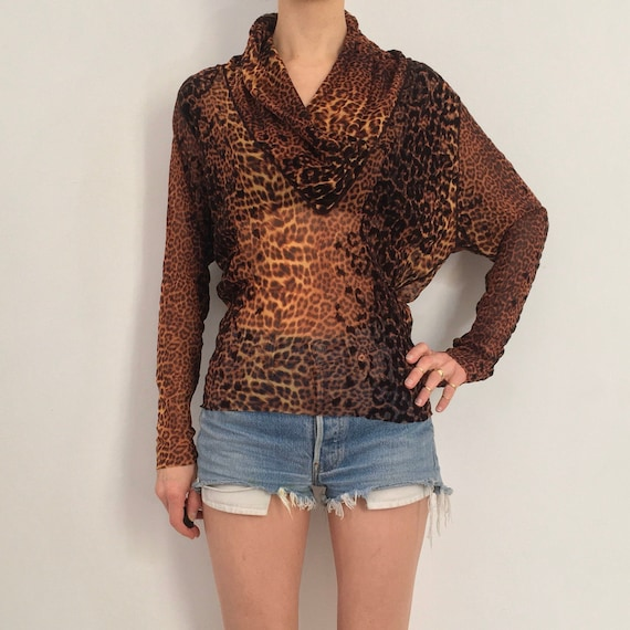 90s Jean Paul Gaultier Flocked Leopard Print Club