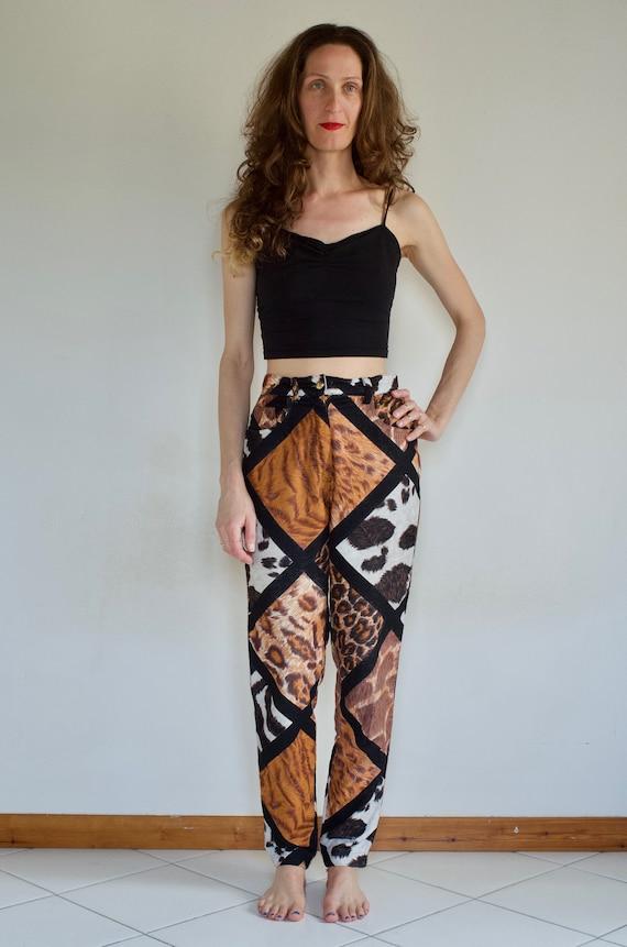90's Moschino wild multi animal print mom jeans /