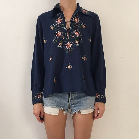 70's Peasant Blouse Hand Embroidered Boho Hippy Fe
