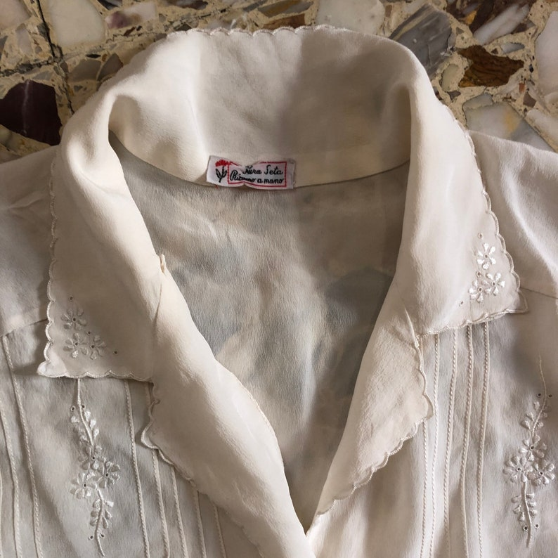 60s Silk Hand Embroidered Pin Tucks Button Up Elegant Boho Blouse