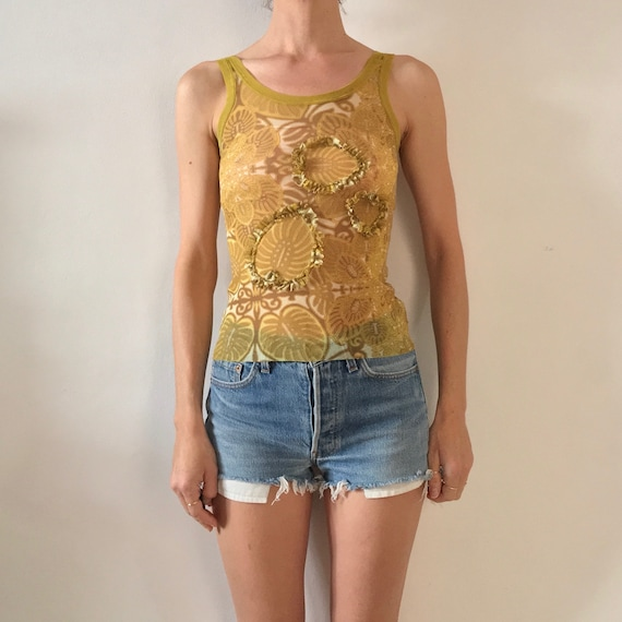 90s Jean Paul Gaultier Floral Tattoo Tribal Sheer