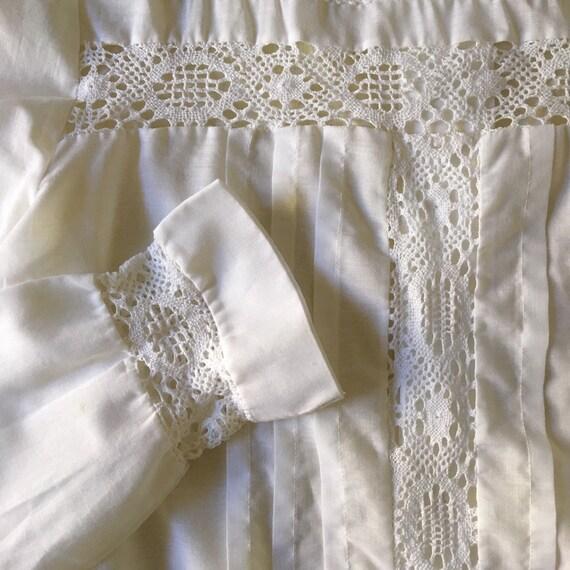 70s Lace Prairie Blouse Boho Romantic Sheer Cotto… - image 6