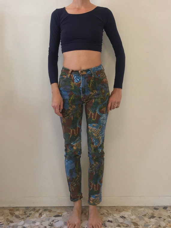 80s Kenzo Tiger Print Tropical Stretch Denim Skinn