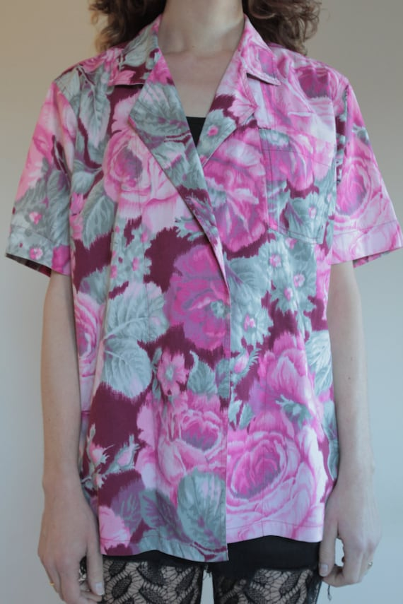 70's Kenzo cotton ikat wrap around floral blouse … - image 5