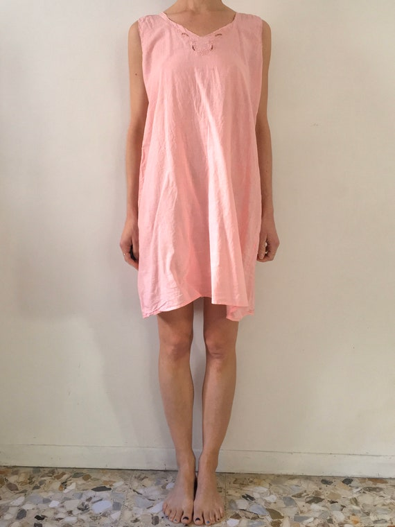 50s Pink Cotton Simple Embroidered Nightgown Slip