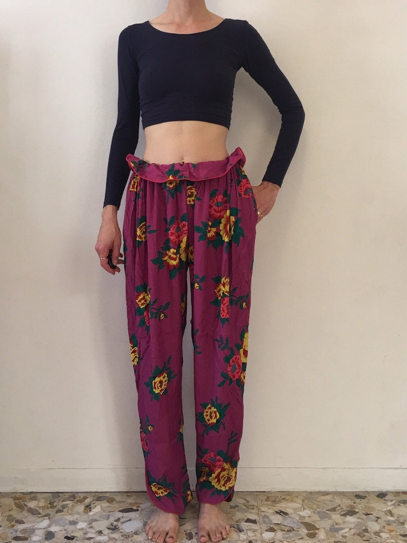 80s Kenzo Paris Floral Harem Pants Draw String Waist