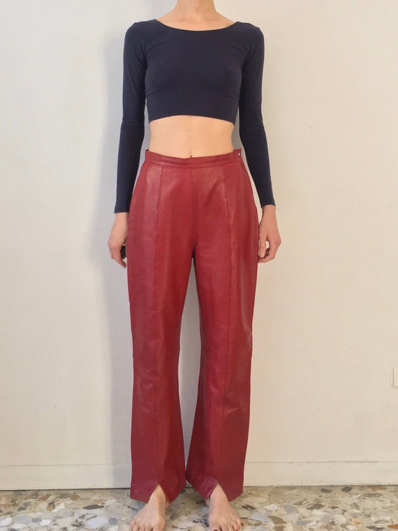 80s Thierry Mugler Couture Red Leather Trousers Lu