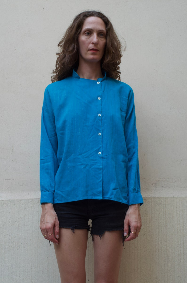 80/'s indian cotton gauze new wave blouse turquoise blue with metallic silver thread