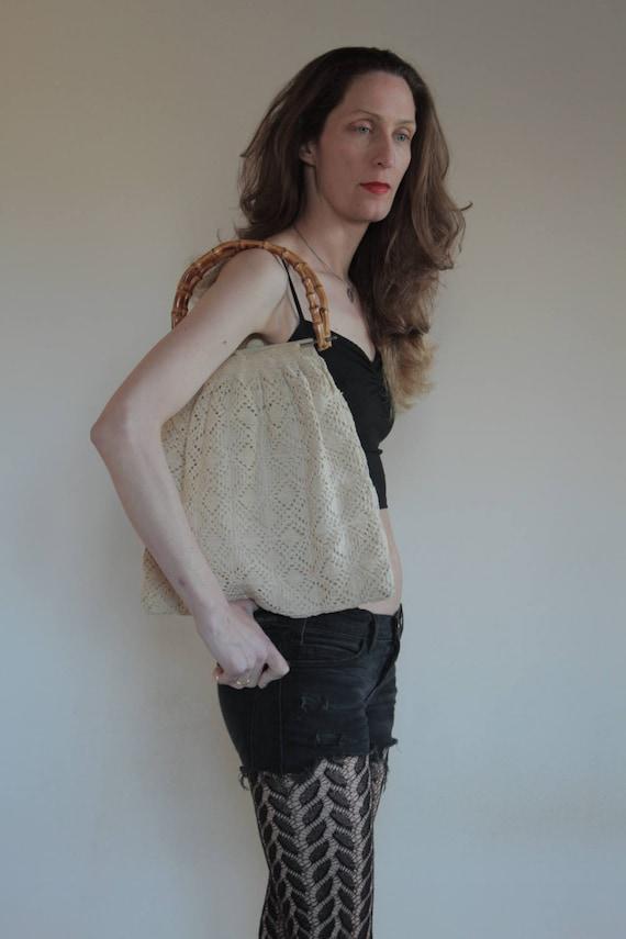 70's Hand crochet Mary Poppins purse / macrame boh