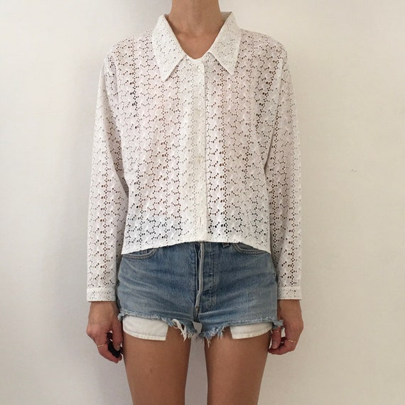 90's White Cotton Eyelet Lace Long Sleeve Summer B