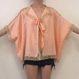 20s Pink Silk Romantic Bed Jacket With Hand Crochet Lace Trim