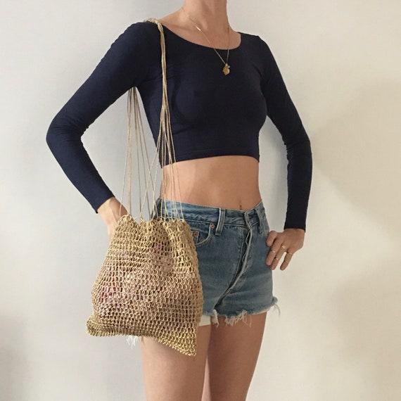 70's Macrame Net Hand Crochet Summer Market Beach