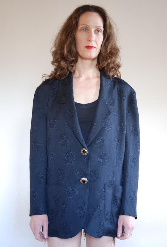 80's Jacquard silk black Asian oversize chic blaze