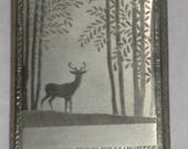 Sale Oh, DEER Elegant ENGRAVED Vintage 1930-1950s Cigarette or Business Silver CARD Case By E B M Co. Great Gift Mad Men Chic