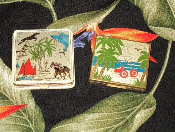 Fantastic FLORIDA Figural Vintage Compact Set~SCEN