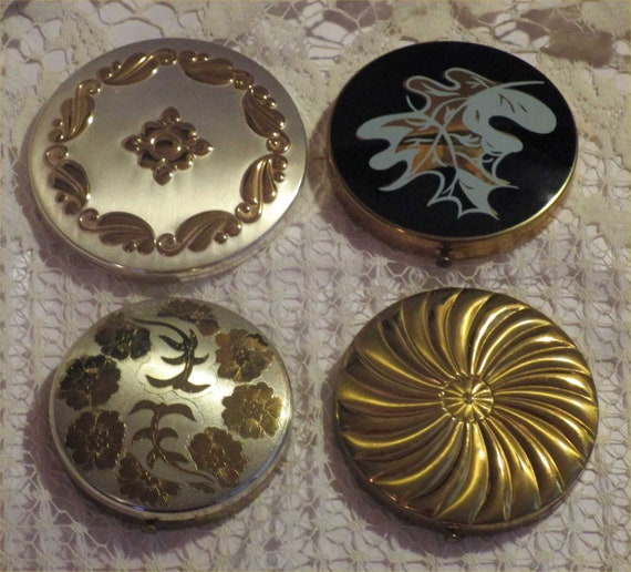UNUSED Silver & GOLD Vintage COMPACT Lot -4 For 1