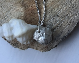 Silver shell necklace - handmade charm (barnacle)